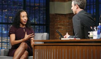"""In this photo provided by NBC, writer Ladee Hubbard talks with host Seth Meyers during an interview on Oct. 10, 2017, in New York. The debut novel of Hubbard, a New Orleans writer, has earned her recognition with this year's Ernest J. Gaines Award for Literary Excellence.  Hubbard will be presented with the $10,000 award at a public ceremony in January for her work, """"The Talented Ribkins.""""   (Lloyd Bishop/NBC via AP)"""