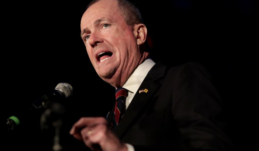 FILE - In this Nov. 7, 2017 file photo, New Jersey Democratic gubernatorial nominee Phil Murphy speaks to supporters during his election night victory party at the Asbury Park Convention Hall, in Asbury Park, N.J.   With Murphy's win this week in the race to replace Gov. Chris Chrsitie, Democrats will be fully in charge of state government in January 2018 for the first time in eight years. Will that be enough to push through a series of ambitious ideas, including legalizing marijuana, funding schools? (AP Photo/Julio Cortez, File)