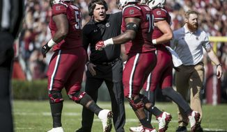 South Carolina head coach Will Muschamp communicates with players during the first half of an NCAA college football game against Florida, Saturday, Nov. 11, 2017, in Columbia, S.C. South Carolina won 28-20. (AP Photo/Sean Rayford)