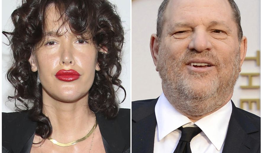 This combination of two file photos shows actress Paz de la Huerta and film producer Harvey Weinstein. De la Huerta's attorneys say a subpoena in the Harvey Weinstein rape investigation requesting all medical treatment records from her therapist is too broad and she should have a chance to review them before turning it over to prosecutors. De la Huerta told police on Oct. 25, 2017 the Weinstein raped her twice in 2010. (AP Photo/Omar Vega, de la Heurta; Jordan Strauss, Weinstein)
