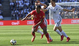 Peru's Andre Carrillo, left, under pressure from New Zealand's Ryan Thomas during their Soccer World Cup qualifying match in Wellington, New Zealand, Saturday, Nov. 11, 2017. (Ross Setford/SNPA via AP)