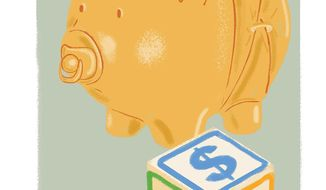 Illustration on child tax credits by Linas Garsys/ The Washington Times