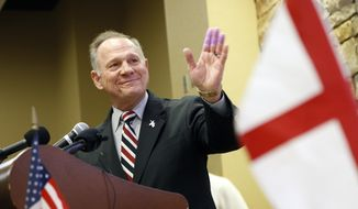 Former Alabama Chief Justice and U.S. Senate candidate Roy Moore speaks at the Vestavia Hills Public library, Saturday, Nov. 11, 2017, in Vestavia Hills, Ala. According to a Thursday, Nov. 9, Washington Post story an Alabama woman said Moore made inappropriate advances and had sexual contact with her when she was 14. Moore is denying the allegations. (AP Photo/Hal Yeager)