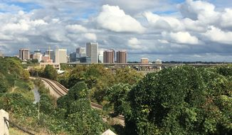 Downtown Richmond, Virginia, as seen from Hollywood Cemetery along the James River.  (Eric Althoff/The Washington Times)