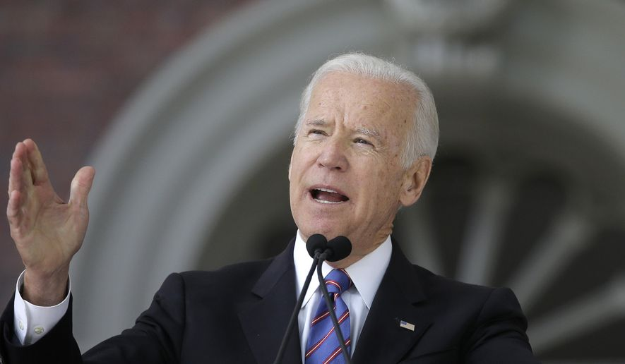 FILE- In this May 24, 2017, file photo, former Vice President Joe Biden delivers the annual Harvard College Class Day address on the campus of Harvard University in Cambridge, Mass. Biden said during an interview with Snapchat's Good Luck America that he's uncertain about a run for president in 2020, but he indicated he's looking for fresh blood to lead the Democratic Party. The interview is set to be released Tuesday, Nov. 14. (AP Photo/Steven Senne, File)