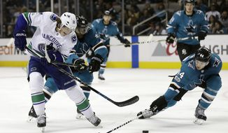 Vancouver Canucks' Loui Eriksson, left, is defended by San Jose Sharks' Marc-Edouard Vlasic, right, during the third period of an NHL hockey game Saturday, Nov. 11, 2017, in San Jose, Calif. (AP Photo/Marcio Jose Sanchez)