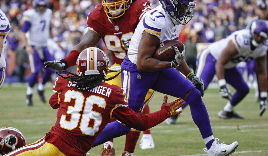 Minnesota Vikings wide receiver Jarius Wright (17) carries the ball past Washington Redskins free safety D.J. Swearinger (36) for a touchdown during the second half of an NFL football game in Landover, Md., Sunday, Nov. 12, 2017. (AP Photo/Patrick Semansky)