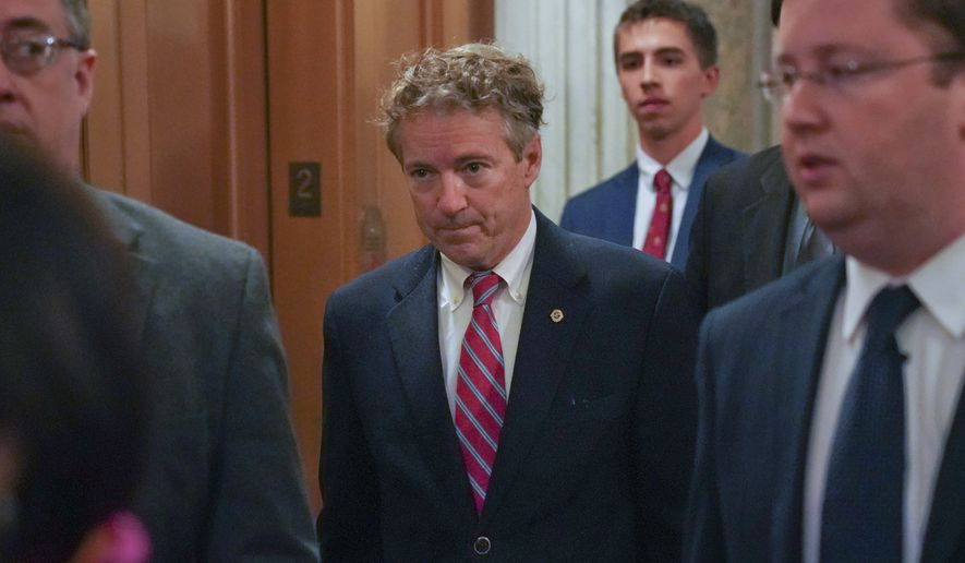 Sen. Rand Paul, R-Ky., arrives on Capitol Hill in Washington, Monday, Nov. 13, 2017. (AP Photo/Pablo Martinez Monsivais) ** FILE **