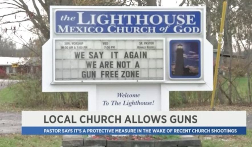The Lighthouse Mexico Church of God in Mexico, New York, is encouraging parishioners to carry guns in self defense after a mass shooting this month at a Texas church left 26 people dead. (Spectrum News)