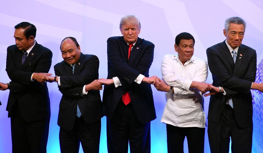 President Trump departed an economic conference in The Philippines at the end of the 12-day trip, the longest by a U.S. president in 25 years. Among the leaders he met with were (from left) Thai Prime Minister Prayuth Chan-ocha, Vietnamese Prime Minister Nguyen Xuan Phuc, Philippine President Rodrigo Duterte and Singaporean Prime Minister Lee Hsien Loong. (Associated Press)