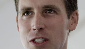 In this Aug. 17, 2017, photo, Missouri Attorney General Josh Hawley talks to supporters during the Governor's Ham Breakfast at the Missouri State Fair in Sedalia, Mo. Hawley says his office will investigate Google for potential violations of the state's antitrust and consumer-protection laws. (AP Photo/Charlie Riedel)