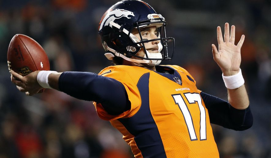 Denver Broncos quarterback Brock Osweiler (17) warms up prior to an NFL football game against the New England Patriots, Sunday, Nov. 12, 2017, in Denver. (AP Photo/Jack Dempsey)