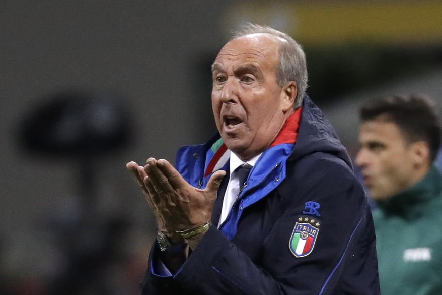 Italy coach Gian Piero Ventura gestures during the World Cup qualifying play-off second leg soccer match between Italy and Sweden, at the Milan San Siro stadium, Italy, Monday, Nov. 13, 2017. (AP Photo/Luca Bruno)