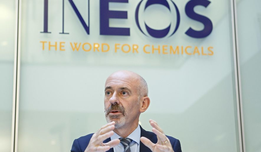 The new president of the FC Lausanne-Sport David Thompson, CEO of INEOS Switzerland, speaks during a press conference , in Rolle, canton of Vaud, Switzerland, on Monday, Nov. 13, 2017. British-owned multinational chemical firm INEOS has agreed a deal to buy Swiss top-tier club Lausanne-Sport. (Salvatore Di Nolfi/Keystone via AP)