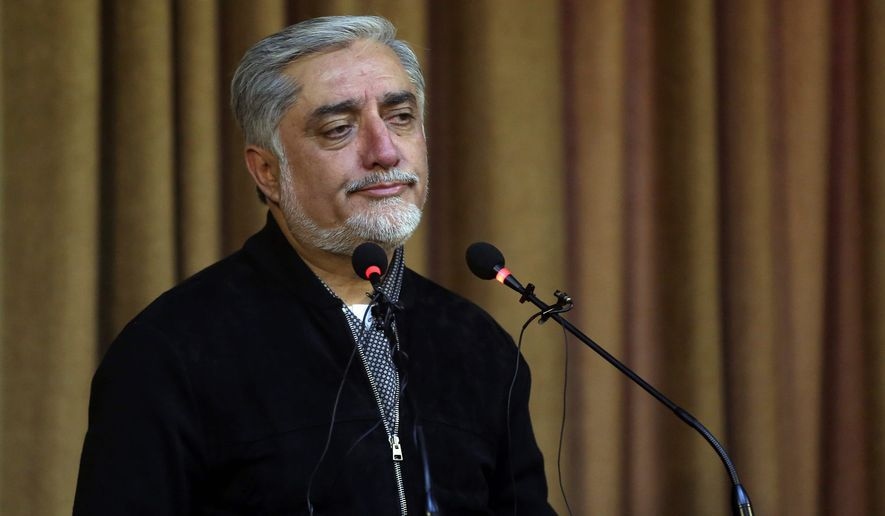 """Is it not better to have these [political] debates with these groups than to have those groups planning attacks?"" asks Abdullah Abdullah, a top Afghan leader. Afghanistan's Chief of Executive, Dr. Abdullah Abdullah, talks during a press conference after he escaped from three suicide attacks during a funeral ceremony, in Kabul, Afghanistan, Saturday, Jun 3, 2017. Explosions in Kabul on Saturday killed at least six people attending a funeral attended by government officials, including members of parliament, a day after hundreds of demonstrators turned out to demand more security in the capital. (AP Photos/Massoud Hossaini) (Associated Press)"