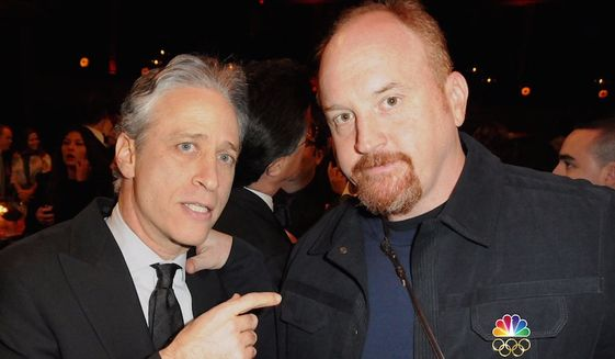 "Comedian Jon Stewart appears with industry friend Louis C.K. in a photo shared during a Nov. 14 2017, interview by NBC's Matt Lauer. (Image: NBC, ""Today"" screenshot)"