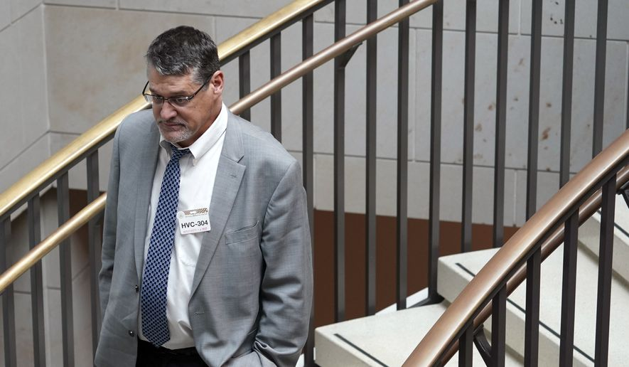 Glenn R. Simpson, co-founder of the research firm Fusion GPS, arrives for a scheduled appearance before a closed House Intelligence Committee hearing on Capitol Hill in Washington, Tuesday, Nov. 14, 2017. (AP Photo/Pablo Martinez Monsivais) ** FILE **