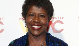 "FILE - In this Nov. 5, 2015 file photo, ""NewsHour"" co-anchor Gwen Ifill attends The Women's Media Center 2015 Women's Media Awards in New York. Simmons College of Boston announced Tuesday, Nov. 14, 2017, that it will name it's College of Media, Arts and Humanities after the late journalist. Ifill graduated from the private college with a communications degree in 1977, and died on Nov. 14, 2016, of cancer. She was 61. (Photo by Andy Kropa/Invision/AP, File)"