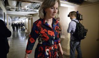 In this March 28, 2017, photo, Rep. Barbara Comstock, Virginia Republican, walks at the Capitol in Washington. Amid a daily deluge of stories about harassment in the workplace, female members of Congress detailed incidents of sexual misconduct involving current lawmakers at a House hearing on how to prevent such abuse. Ms. Comstock said she was recently told about a staffer who quit her job after a lawmaker asked her to bring work material to his house, then exposed himself. (AP Photo/J. Scott Applewhite, File)