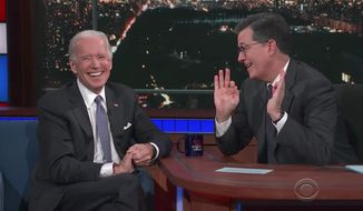 Former Vice President Joe Biden told Stephen Colbert Monday night that he hopes the country will never have another president like Donald Trump. (The Late Show with Stephen Colbert)