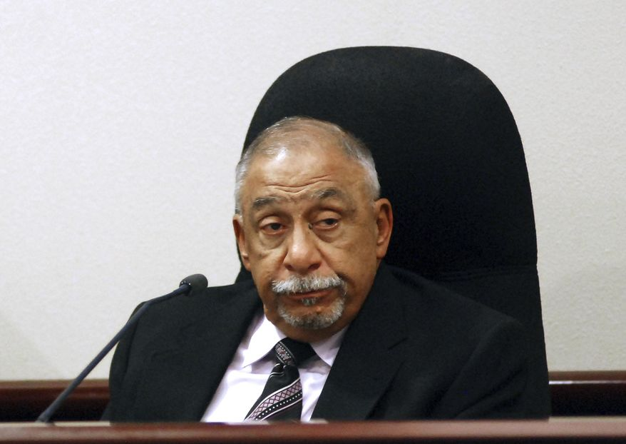Former New Mexico state Sen. Phil Griego testifies at his own trial on corruption charges on Tuesday, Nov. 14, 2017, in Santa Fe, N.M. Griego, a Democrat, is accused of using his former position as a lawmaker to profit from the sale of a state-owned building in downtown Santa Fe without proper disclosure. He denies any wrongdoing. (AP Photo/Morgan Lee)