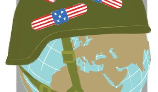 Illustration on Amrica as a global protector by Linas Garsys/The Washington Times