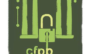 Illustration on CFPB by Linas Garsys/The Washington Times