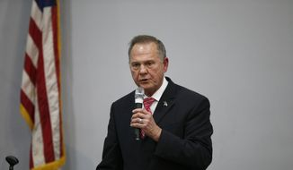 Former Alabama Chief Justice and U.S. Senate candidate Roy Moore speaks at a revival, Tuesday, Nov. 14, 2017, in Jackson, Ala. (AP Photo/Brynn Anderson)