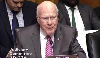 Vermont Patrick Leahy questions judicial nominees during a Senate Judiciary Committee hearing, Nov. 15, 2017. (Image: YouTube, Washington Free Beacon)