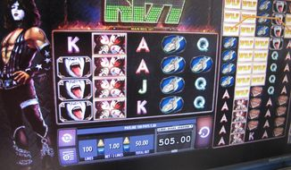 This Aug. 2, 2017 photo shows a game of internet slots under way in Atlantic City, N.J. Figures released by New Jersey gambling regulators on Nov. 15, 2017 show that internet gambling money helped Atlantic City's seven casinos post a 1.7 percent revenue increase compared with October 2016. (AP Photo/Wayne Parry)