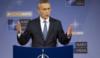NATO Secretary General Jens Stoltenberg speaks during a media conference after a meeting of NATO defense ministers at NATO headquarters in Brussels on Thursday, Nov. 9, 2017. (AP Photo/Virginia Mayo)