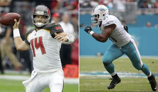 FILE - At left, in an Oct. 15, 2017, file photo, Tampa Bay Buccaneers quarterback Ryan Fitzpatrick (14) throws a pass against the Arizona Cardinals during the first half of an NFL football game in Glendale, Ariz. At right, in an Oct. 22, 2017, file photo, Miami Dolphins defensive end Cameron Wake (91) runs during the first half of an NFL football game against the New York Jets, in Miami Gardens, Fla. Tampa Bay plays at Miami on Sunday, Nov. 19, 2017. (AP Photo/File)