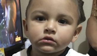 This photo provided by the Los Angeles Police Department shows Noe Reyna. An Amber Alert has been issued, Wednesday, Nov. 15, 2017,  in Southern California for Carlos Reyna, a father who authorities say has abducted his 15-month-old son, Noe Reyna. Investigators say the father and child were last seen Tuesday afternoon in the Boyle Heights area of Los Angeles.  (Los Angeles Police Department via AP)
