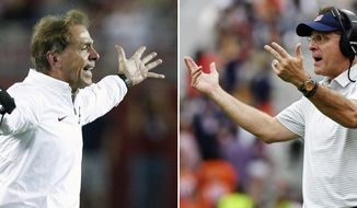 FILE - At left, in an Oct. 14, 2017, file photo, Alabama head coach Nick Saban yells during the second half an NCAA college football game against Arkansas in Tuscaloosa, Ala. At right, in this Oct. 7, 2017, file photo, Auburn head coach Gus Malzahn calls to players during the second half of an NCAA college football game against Mississippi in Auburn, Ala. The Southeastern Conference as usual is doing its part to give many of its fans a chance to re-charge for the final stretch run with matchups such as Mercer at No. 1 Alabama and Louisana-Monroe at No. 6 Auburn. (AP Photo/File)