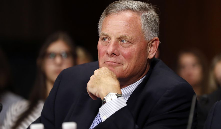 In this Sept. 20, 2017, file photo, Sen. Richard Burr, R-N.C., listens on Capitol Hill in Washington. Burr and Sen. Thom Tillis issued statements Nov. 15, saying they will vote against Michael Dourson to serve as head of EPA's Office of Chemical Safety and Pollution Prevention. (AP Photo/Alex Brandon, File)