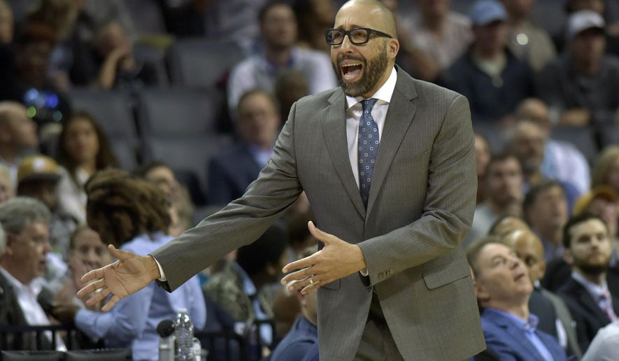 Memphis Grizzlies head coach David Fizdale reacts in the first half of an NBA basketball game against the Indiana Pacers Wednesday, Nov. 15, 2017, in Memphis, Tenn. (AP Photo/Brandon Dill)