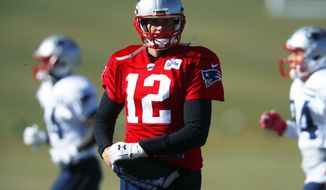 New England Patriots quarterback Tom Brady takes part in drills before practicing Wednesday, Nov. 15, 2017, on the campus of the Air Force Academy in Air Force Academy, Colo. The Patriots are practicing at Air Force, which is located at an elevation of 7,200 feet, to prepare to face the Oakland Raiders during an NFL football game Sunday in Mexico City, which sits at an elevation of almost 7,400 feet above sea level. (AP Photo/David Zalubowski)