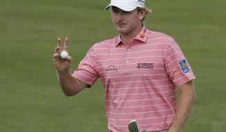 FILE - In this June 18, 2017, file photo, Brandt Snedeker waves after putting on the 12th hole during the fourth round of the U.S. Open golf tournament at Erin Hills in Erin, Wis. Snedeker is playing the RSM Classic this week at Sea Island, Georgia after being out for nearly five months with a sternum injury. (AP Photo/Chris Carlson)