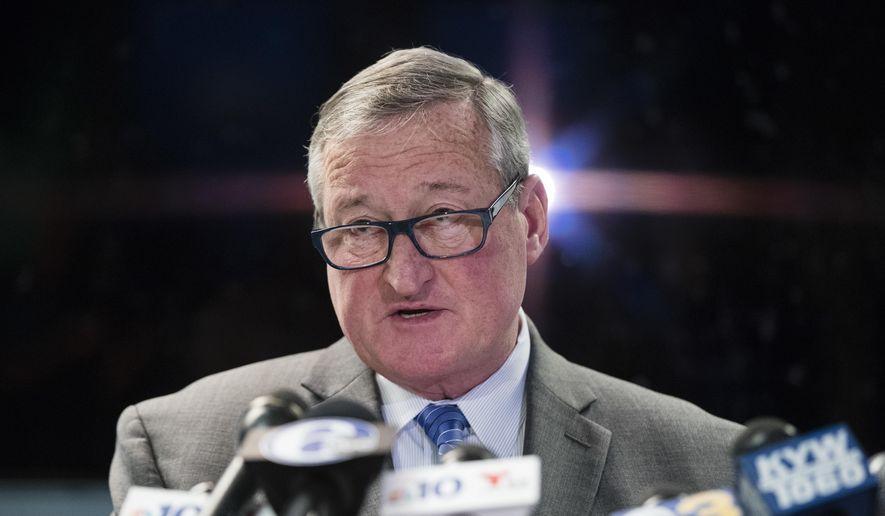 Philadelphia Mayor Jim Kenney speaks during a news conference in Philadelphia, Wednesday, Nov. 15, 2017. (AP Photo/Matt Rourke) ** FILE **