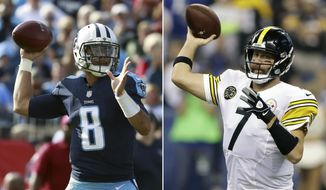 FILE - At left, in a Nov. 5, 2017, file photo, Tennessee Titans quarterback Marcus Mariota (8) looks to throw a pass against the Baltimore Ravens during an NFL football game in Nashville, Tenn. At right, in a Nov. 12, 2017, file photo, Pittsburgh Steelers quarterback Ben Roethlisberger (7) throws against the Indianapolis Colts during the first half of an NFL football game in Indianapolis. Stylistically, the Steelers may be the most unimpressive 7-2 team in the NFL. It's a problem the AFC North leaders can live with, though they will be tested on Thursday against Tennessee (6-3). The Titans have won four straight and can send a message they're a legitimate threat. (AP Photo/File)
