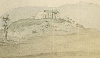 This photo shows a detail of a watercolor panorama of a Continental Army encampment that features the only known wartime depiction of George Washington's headquarters tent, his command center throughout the war, in Philadelphia. The tent is also the marquee exhibit at the Museum of the American Revolution, which opened in April in Philadelphia. (Courtesy of the Museum of the American Revolution via AP)