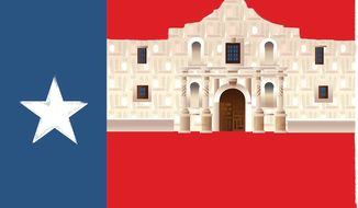 Illustration on the restoration of the Alamo by Linas Garsys/The Washington Times