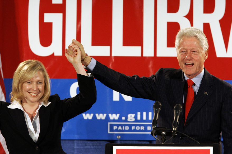"""Sen. Kirsten Gillibrand, who said President Clinton should have resigned over his sexual affair with White House intern Monica Lewinsky 20 years ago, later defended him. """"Things have changed today, and I think under those circumstances there should be a very different reaction,"""" she said. (Associated Press/File)"""