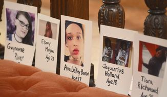 Photos of transgender people lost to violence this year are remembered during The Transgender Day of Remembrance vigil at St. Stephen's Episcopal Church in Pittsfield, Mass., Thursday, Nov. 16, 2017. While the official day is Nov. 20, the vigil was celebrated locally on Thursday. (Gillian Jones/The Berkshire Eagle via AP)