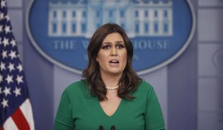 White House press secretary Sarah Huckabee Sanders speaks to the media during the daily briefing in the Brady Press Briefing Room of the White House, Thursday, Nov. 16, 2017. (AP Photo/Pablo Martinez Monsivais)