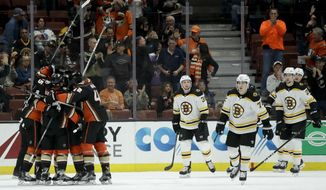 Members of the Anaheim Ducks celebrate after Kevin Roy's first NHL career goal, as Boston Bruins skate past during the first period of a hockey game in Anaheim, Calif., Wednesday, Nov. 15, 2017. (AP Photo/Chris Carlson)
