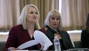 Lori Ajax, left, chief of the Bureau of Cannabis Control, speaks during the first public meeting of the Cannabis Advisory Committee, Thursday, Nov. 16, 2017, in Sacramento, Calif. The committee released the rules governing the nation's largest legal recreation marijuana market.  (AP Photo/Rich Pedroncelli)
