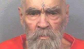 This Aug. 14, 2017, file photo provided by the California Department of Corrections and Rehabilitation shows Charles Manson. (California Department of Corrections and Rehabilitation via AP)