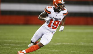 FILE- This Aug. 12, 2017, file photo shows Cleveland Browns wide receiver Corey Coleman (19) playing against the New York Giants during the first half of an NFL preseason football game in Cleveland.   After missing seven games with a broken right hand, Coleman will play Sunday, Nov. 19, 2017, when the winless Browns host the Jacksonville Jaguars. It's another fresh start for Coleman, who missed six games as a rookie last year when he broke a different bone in the same hand. Coleman's speed should help Cleveland's offense and especially rookie quarterback DeShone Kizer, who has been lacking playmakers. (AP Photo/Ron Schwane, File)