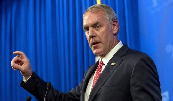 Interior Secretary Ryan Zinke speaks at the Heritage Foundation in Washington in this Sept. 29, 2017, file photo. (AP Photo/Andrew Harnik, File)